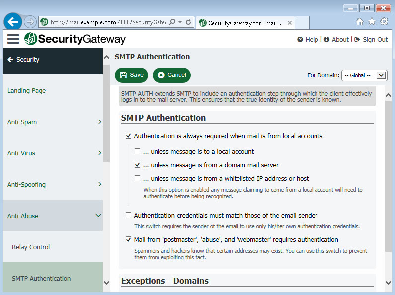 Email Spam Firewall | SecurityGateway for Exchange / SMTP